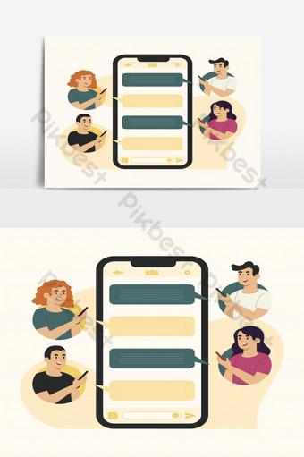 مفهوم رسائل الجوال دردشة جماعية صور PNG قالب EPS