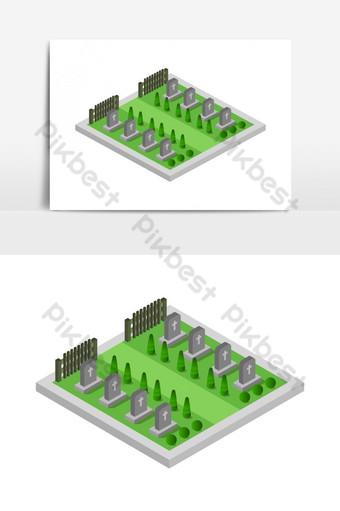 изометрическое кладбище в векторе Графические элементы шаблон EPS