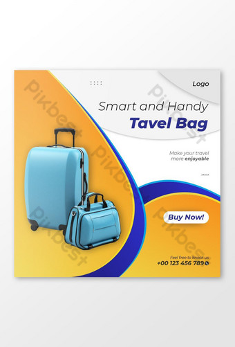 Luggage And Carry Bag Selling Social Media Post Template AI