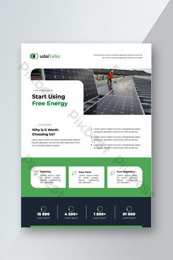 Modèle de flyer de promotion d'entreprise d'énergie solaire Modèle EPS