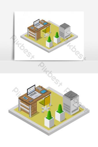 sala de oficina isométrica ilustrada en vector Elementos graficos Modelo EPS
