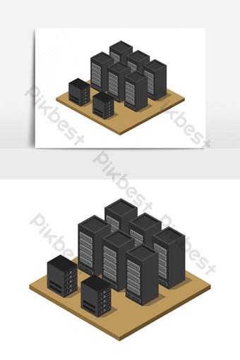 sala de servidores isométrica ilustrada en vector Elementos graficos Modelo EPS
