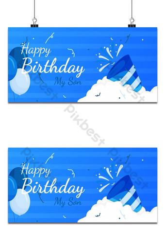 desain template spanduk ucapan selamat ulang tahun dengan warna biru untuk anak laki-laki Latar belakang Templat PSD