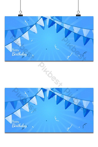 latar belakang spanduk pesta ulang tahun untuk anak laki-laki dengan untaian bendera Latar belakang Templat EPS