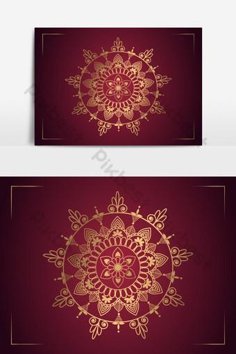 diseño de fondo de mandala de lujo con combinación de color rojo oscuro Elementos graficos Modelo AI