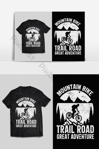 bicicleta de montaña tipografía vector listo para imprimir diseño de camiseta psd eps png Elementos graficos Modelo EPS