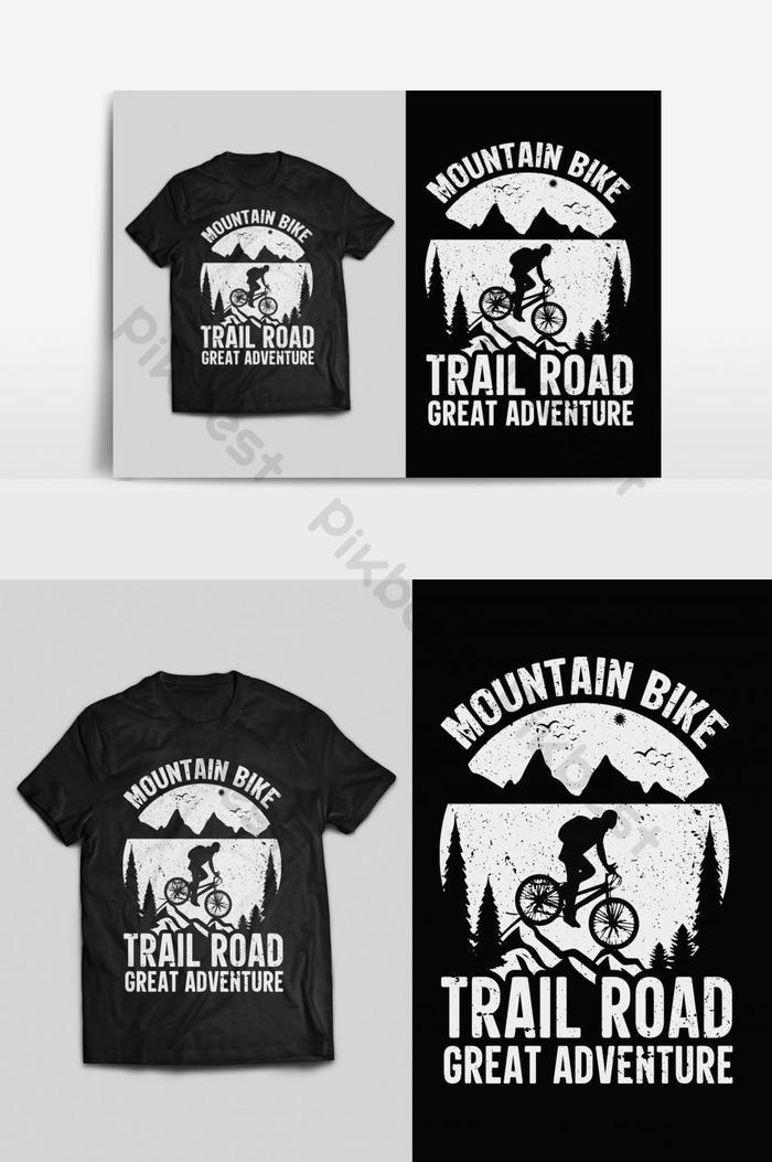 sepeda gunung tipografi vektor cetak siap t shirt desain psd eps png