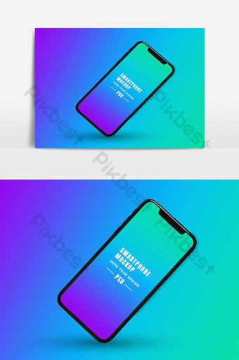 maqueta de teléfono inteligente con fondo de colores Elementos graficos Modelo PSD