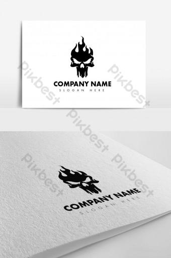 impresionante diseño de logotipo minimalista de calavera negra Modelo AI