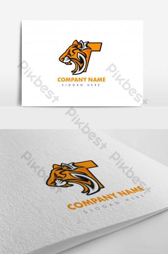 hermoso diseño único del logotipo del tigre de la letra t Modelo AI