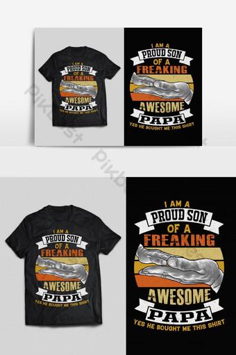 bangga anak ayah tipografi vektor cetak siap t shirt desain psd eps png Elemen Grafis Templat EPS