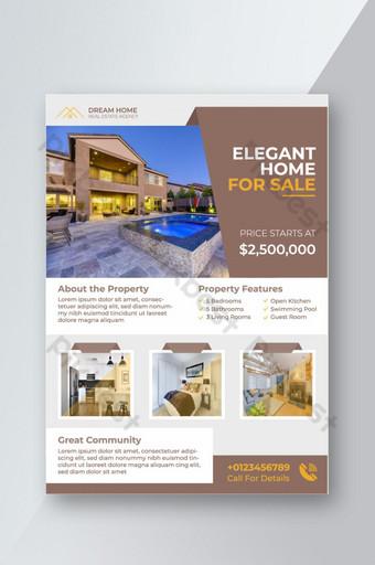 Modern Real Estate Flyer Design For Elegant Home Sell Template EPS