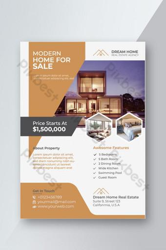 Modèle de Flyer de maison moderne à vendre Design Premium Modèle EPS