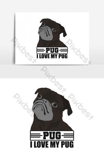 Amo mi diseño de vector de camiseta de perro pug Elementos graficos Modelo AI
