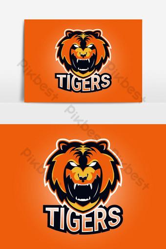 diseño del logotipo de la mascota del tigre de esport Elementos graficos Modelo AI