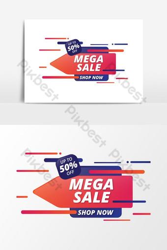desain spanduk promosi diskon besar-besaran di ilustrator Elemen Grafis Templat EPS