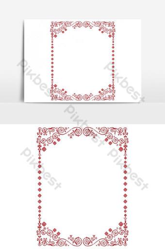 diseño de marco de borde de vector vintage de color rojo Elementos graficos Modelo EPS