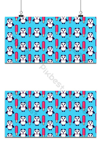 Cute panda with Popsicle seamless pattern Backgrounds Template EPS