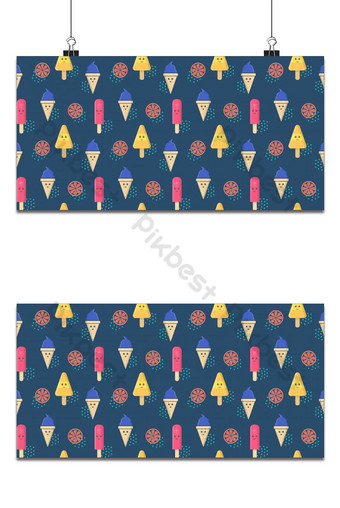 Cute icecream character with orange fruit seamless pattern Backgrounds Template EPS