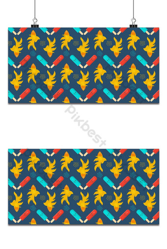 Cute icecream kawali with gold fish seamless pattern for background Backgrounds Template EPS