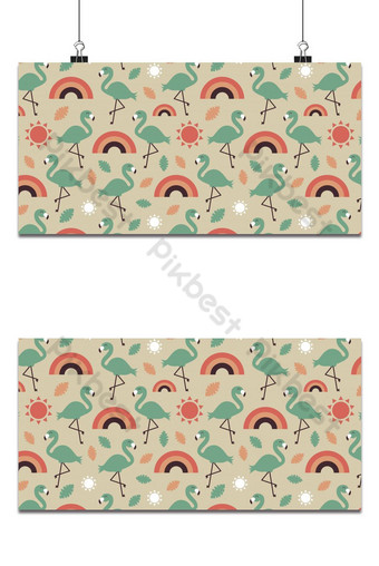 Tropical summer background with rainbow vintage style seamless pattern Backgrounds Template EPS