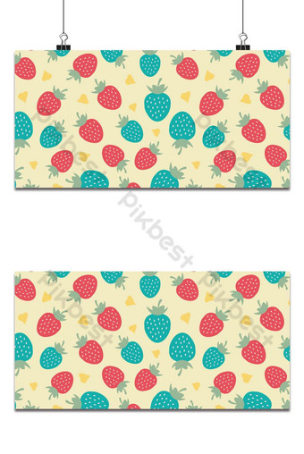 Seamless pattern colorful sweet strawberry on yellow background Backgrounds Template EPS