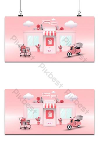 Ilustración de vector de concepto de compras de tienda online Fondos Modelo AI