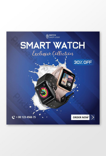 Smart watch social media post na disenyo ng banner Template AI