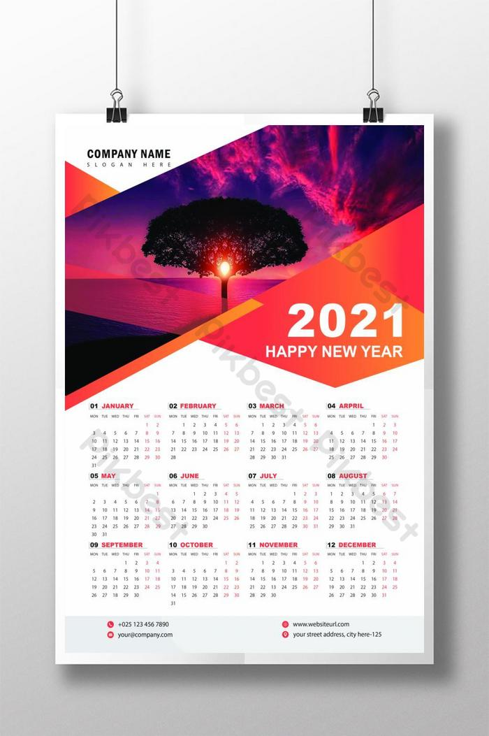 Calendrier 2021 Design Wall Calendar 2021 Design Template | EPS Free Download   Pikbest