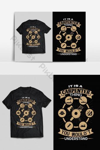 tukang kayu tipografi vektor cetak siap t shirt desain psd eps png Elemen Grafis Templat EPS