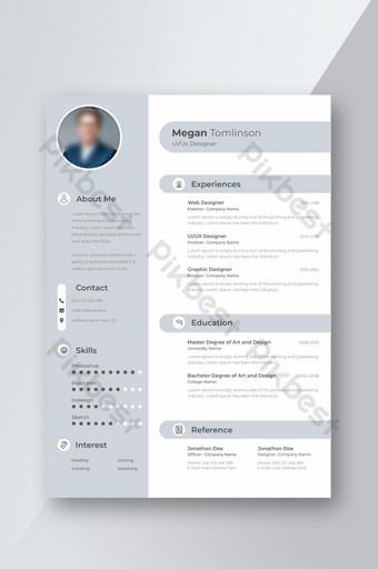 Mẫu sơ yếu lý lịch chuyên nghiệp dành cho Ui Ux Designer Bố cục CV với trình giữ chỗ ảnh Bản mẫu PSD