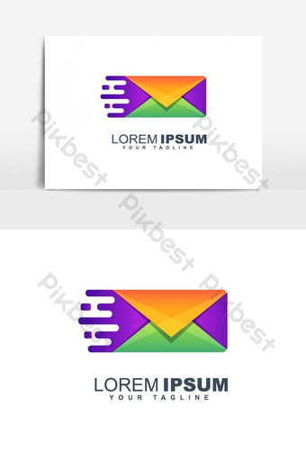 Colorful mail abstract logo design  PNG Images Template EPS