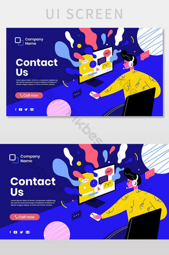 Customer Service Website Illustration Theme. Support Page. Contact Us Landing Page Vector UI Template EPS