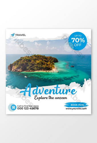 Tour & Travel Social Media Post or Banner Template PSD