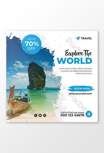 Tour & Travel Agency Social Media Post or Banner Template Design Template PSD