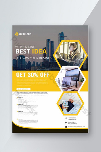 Modèle de flyer entreprise créative avec photo Modèle AI