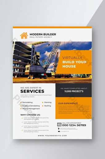 Modèle de conception de flyer de construction de couleur orange Modèle EPS