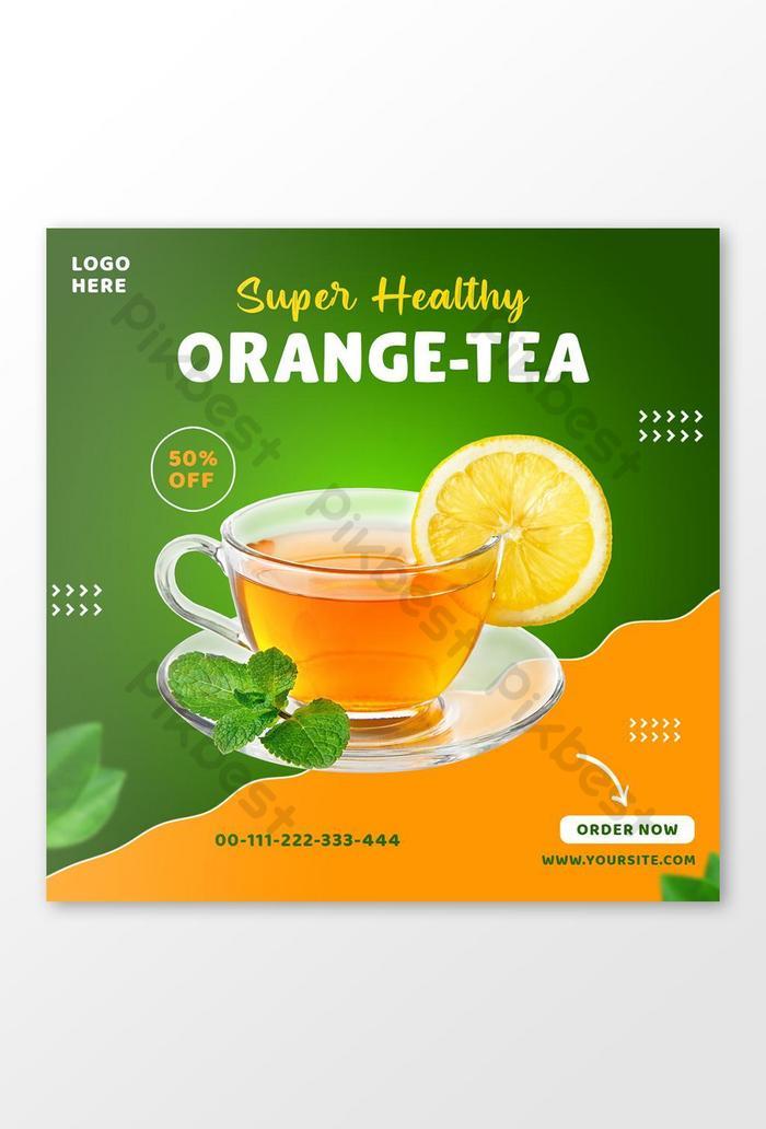 เทมเพลตโพสต์ instagram ของโซเชียลมีเดียชาส้มเพื่อสุขภาพ