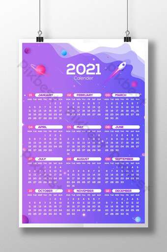 2021 wall calender single page Template AI