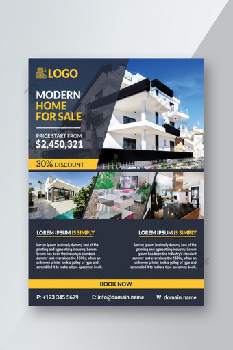 Modern Home for sale real estate flyer design template. Template PSD