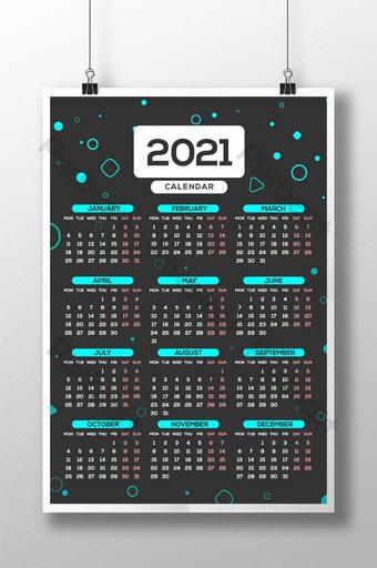 2021 wall calendar single page Template AI