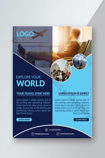 Modèle de conception de flyer de voyage avec photo Modèle PSD