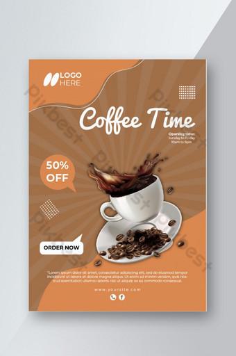 Conception de modèle de flyer café à la mode et spécial Modèle AI