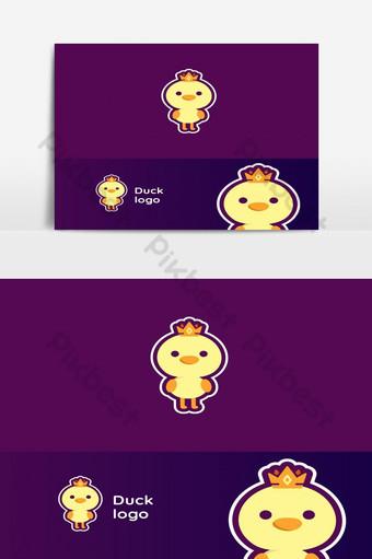 diseño de logotipo de la mascota de pato rey esport Elementos graficos Modelo EPS