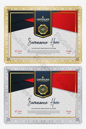 Certyfikat uznania projekt dyplom honorowy dyplom Szablon EPS