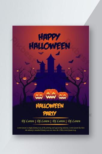 Flyer de fête d'Halloween avec arbre et citrouille Modèle AI