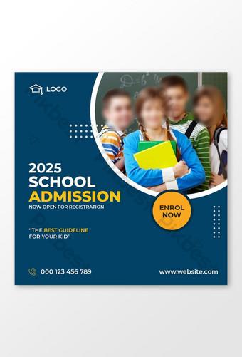 plantilla de diseño de publicación de redes sociales de admisión escolar Modelo EPS