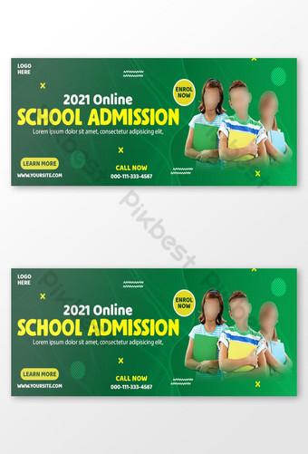 2021 plantillas de diseño de portada de facebook de admisión escolar en línea Modelo PSD