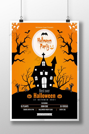 Modèle d'affiche de fête d'Halloween Affiche orange Modèle PSD