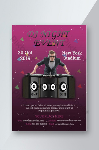 Modèle de conception de flyer DJ Night Party Télécharger le fichier PSD Téléchargement gratuit Modèle PSD